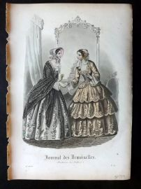 Journal des Demoiselles C1850 Antique Hand Col Fashion Print 90